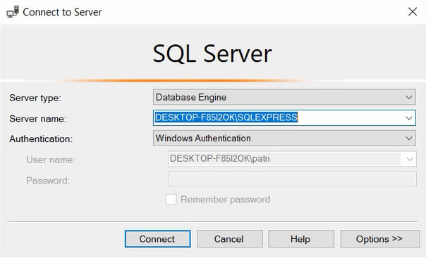 Windows Authentication in SQL Server Management Studio