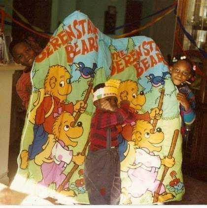 Me Celebrating the ultimate gift a boy could EVER receive! A Berenstain Bears Sleeping Bag!