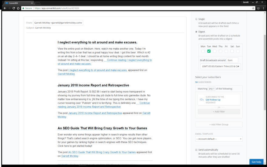 Example of automatic RSS email on the left; automatic newsletter settings on the right.