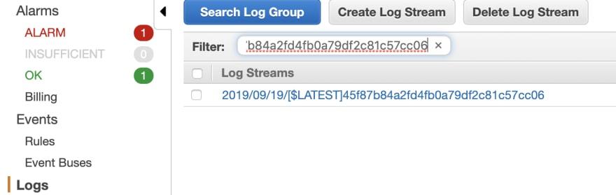 Search CloudWatch stream