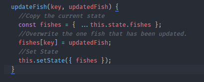 updateFish method that we created on the App component today