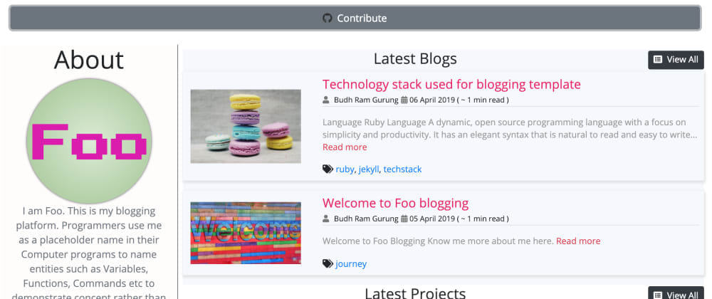 Cover image for Bloggerfoo - a Jekyll (Ruby) based blogging theme for Developers