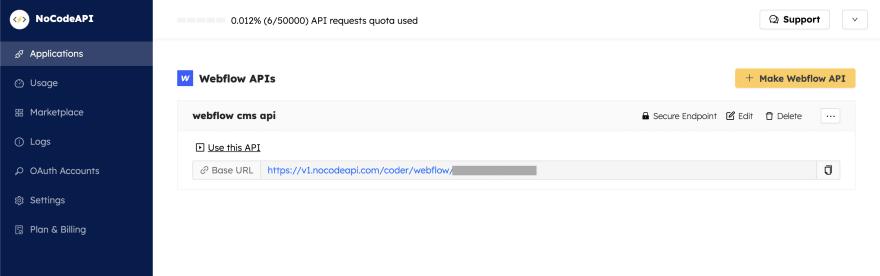 Webflow CMS API endpoint