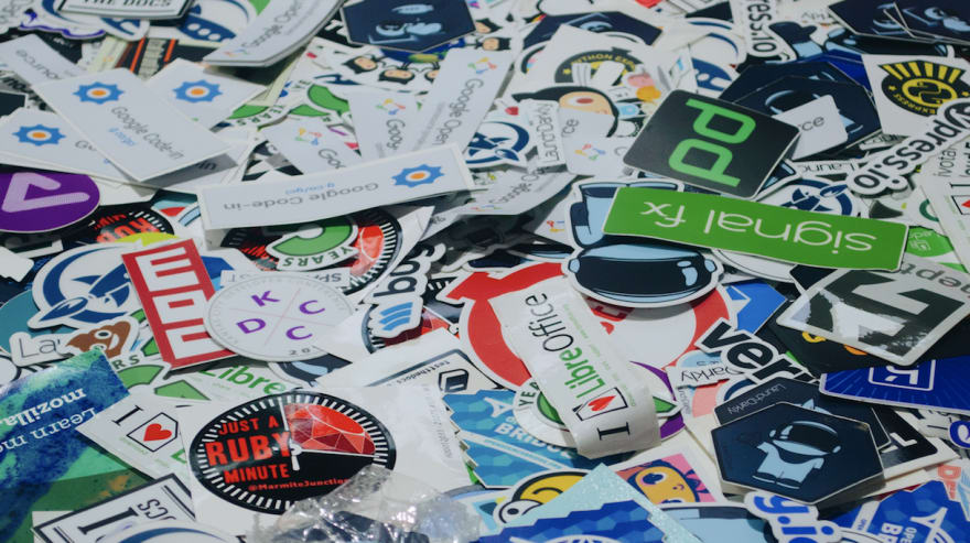 a lot of stickers