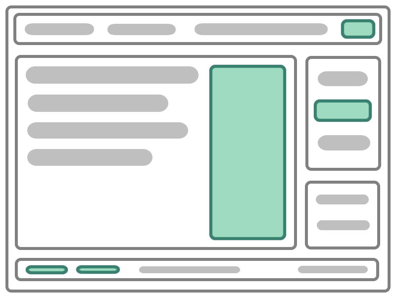 A page wireframe with bright highlights indicating several Vue applications