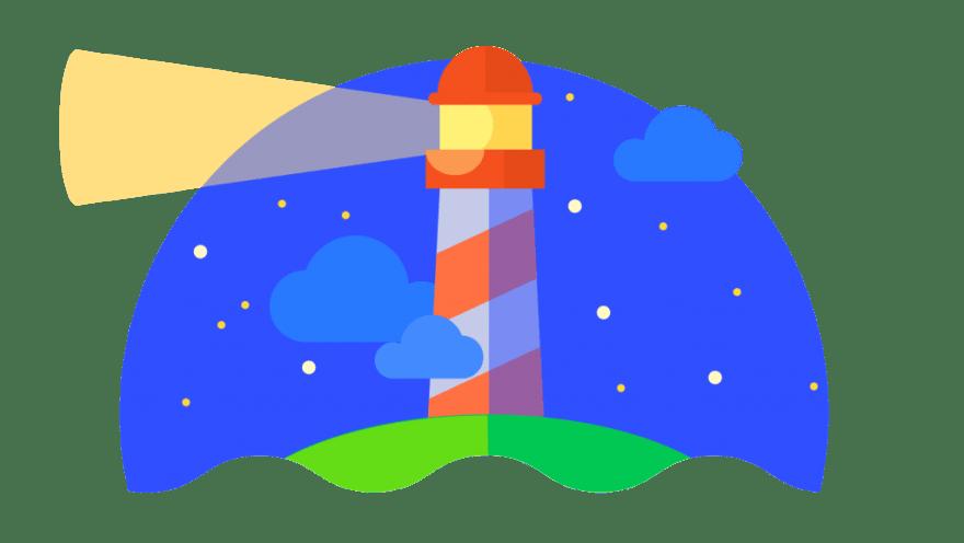 lighthouse with night sky
