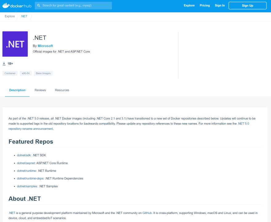DockerHub - DotNet