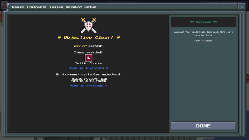 TwilioQuest3 - Basic Mission - Account - Success
