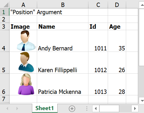 Data filled with position argument