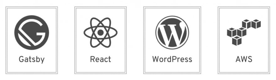 Gatsby, WordPress, React and AWS icons