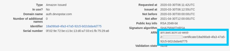 ACM Certificate ARN