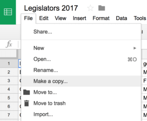 You can make a copy of a spreadsheet by selecting the file menu then choosing 'Make a copy...'