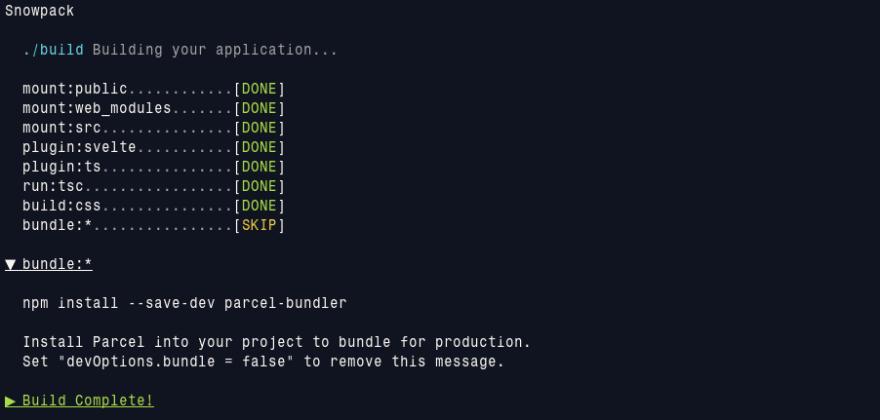 snowpack build output