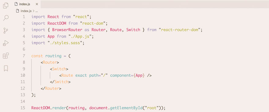 React code snippet with the Base16 - Light Mocha theme