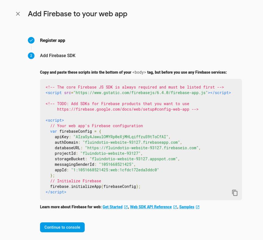 firebase configuration screenshot