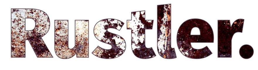 Image of the word Rustler covered in rust