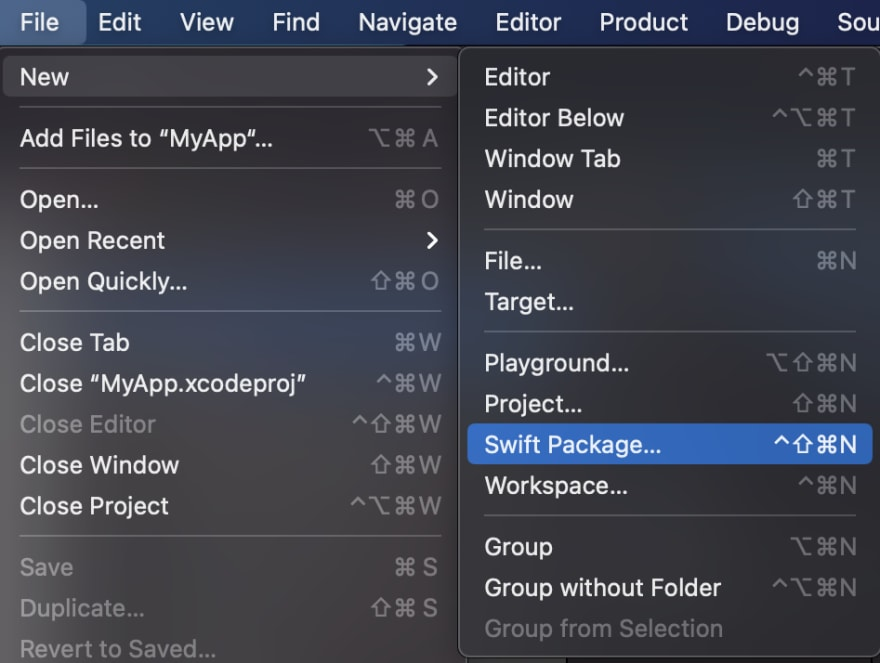 Swift Package creation in menu bar