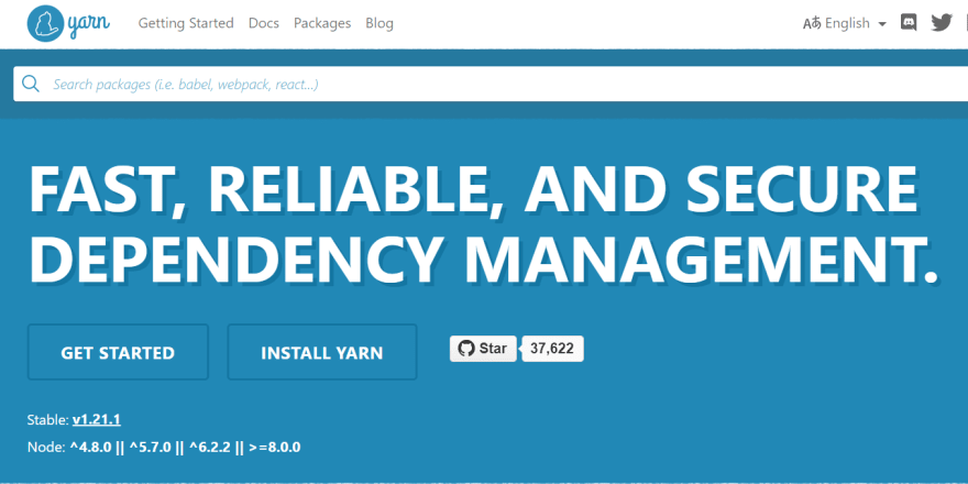 Yarn package manager home page