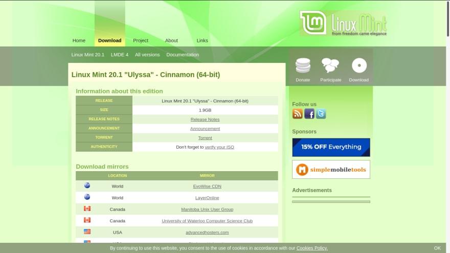 Linux Mint - website, download page - 3