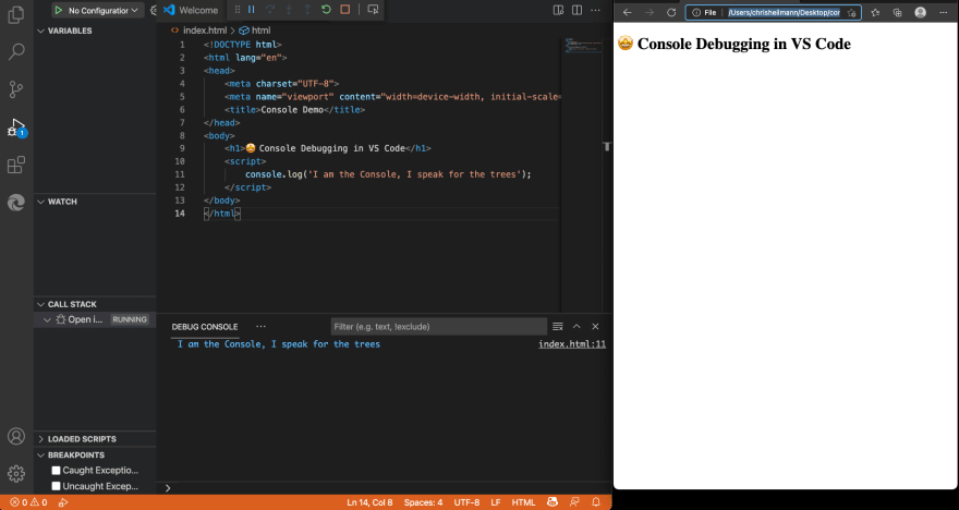 Console messages in the Debug Console of Visual Studio Code