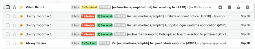 Google Mail message chains with the amount of messages count