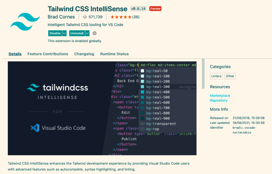 Tailwind vscode plugin