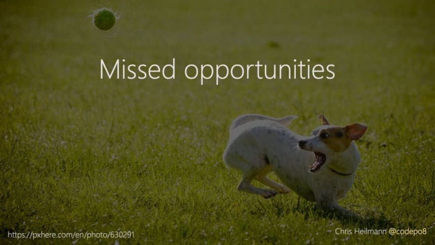 missed opportunities (picture of dog not catching a ball)