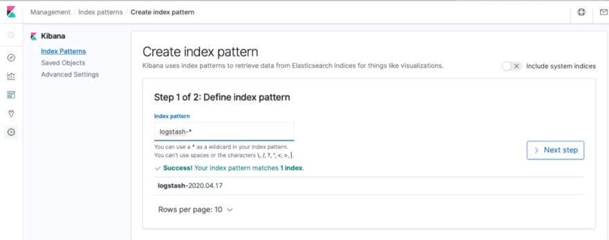 Figure 21 Create a new index pattern in Kibana