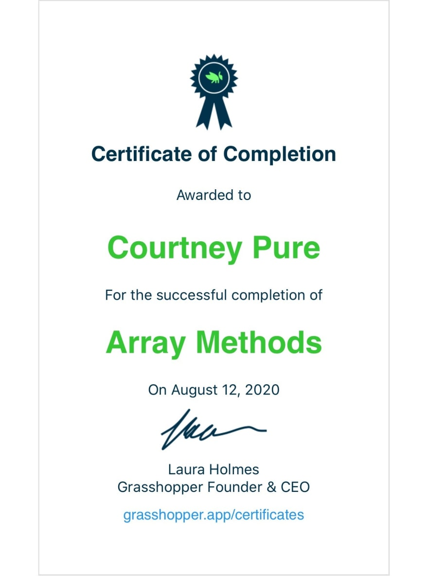 Certificate of Completion Array Methods from Grasshopper