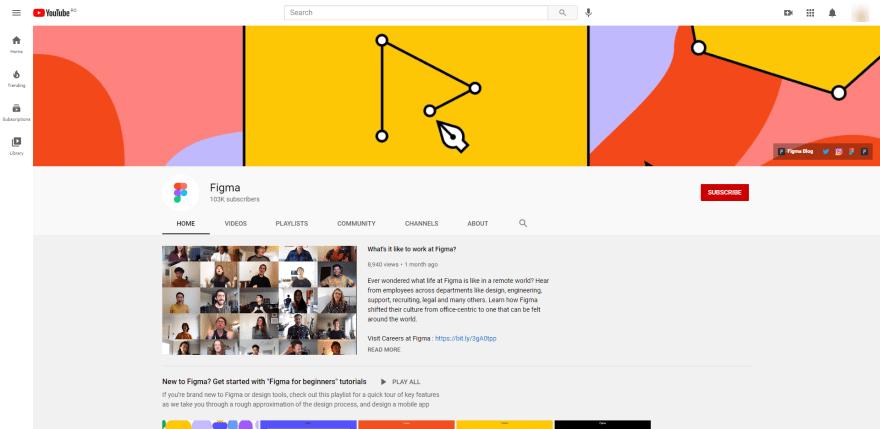 Screenshot of Figma's YouTube Channel