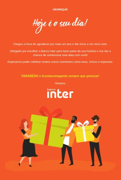Banco Inter Email Marketing Aniversário