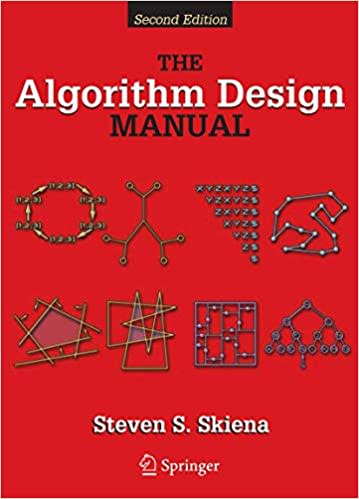The Algorithm Design Manual book cover with various diagrams & red background