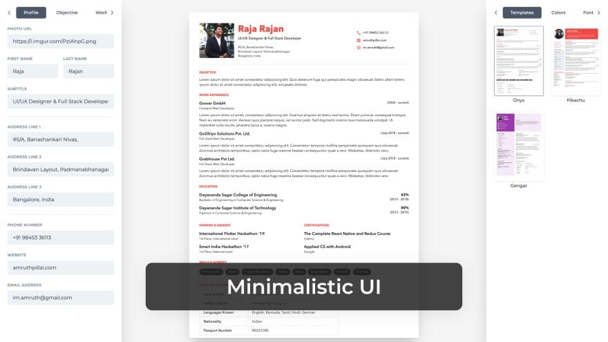 Minimalistic UI