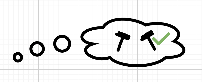 Thought bubble containing different tools, one has a checkmark