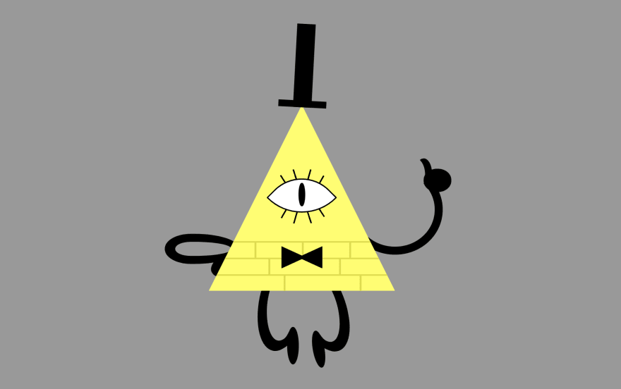 The triangle with an eye, now has arms and legs too