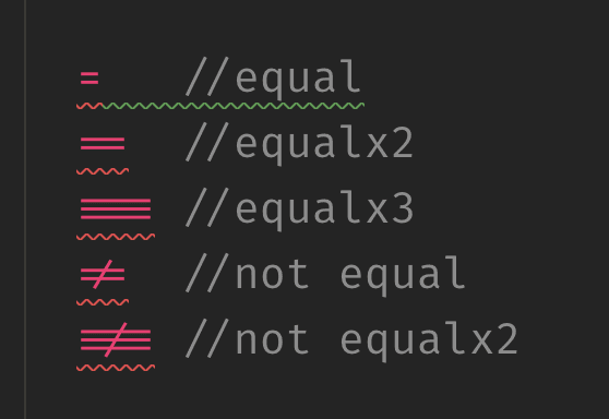 Demo of all of the equal sign combos