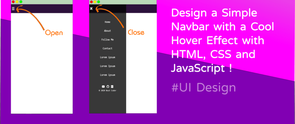 Cover image for Design a Simple Navbar with Cool Hover Effect in HTML, CSS and JavaScript [Video Tutorial]