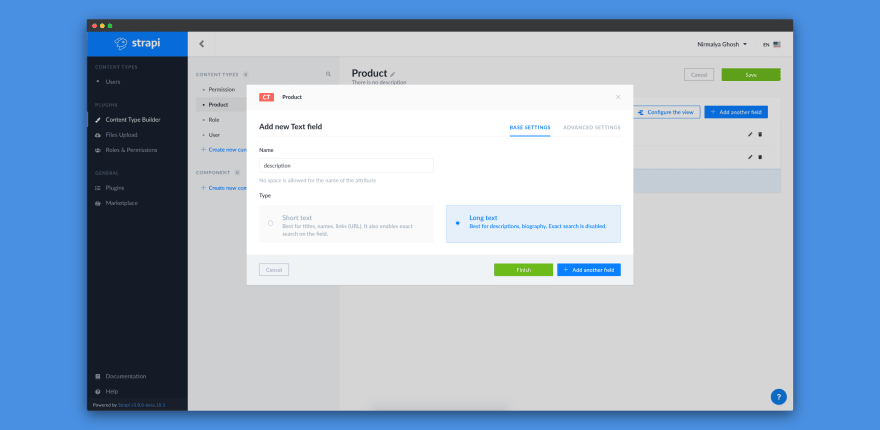 Adding Description text field for Product content-type