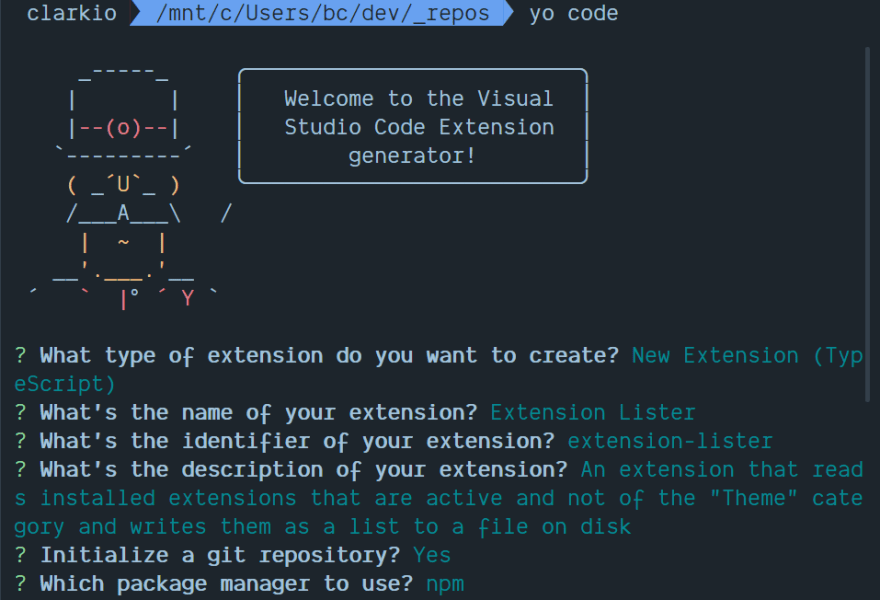 Filling in options for creating a new VS Code extension with the Yeoman generator