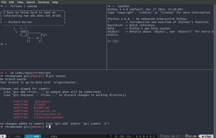Example of a _tmux_ display