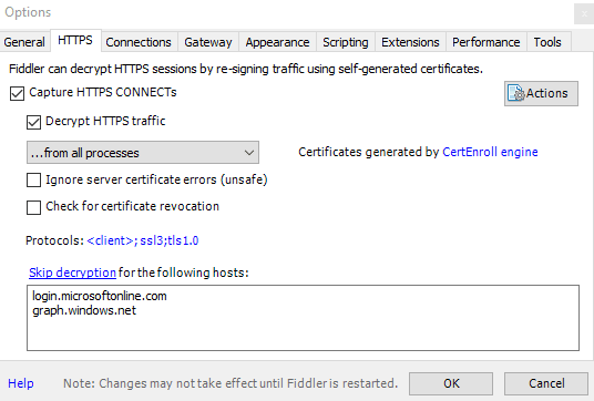 A screenshot of the Fiddler Options UI, showing my modified settings to ignore authentication sites