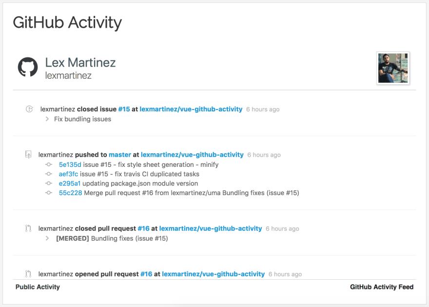 Announcing Vue Github Activity: A Vue js Component to