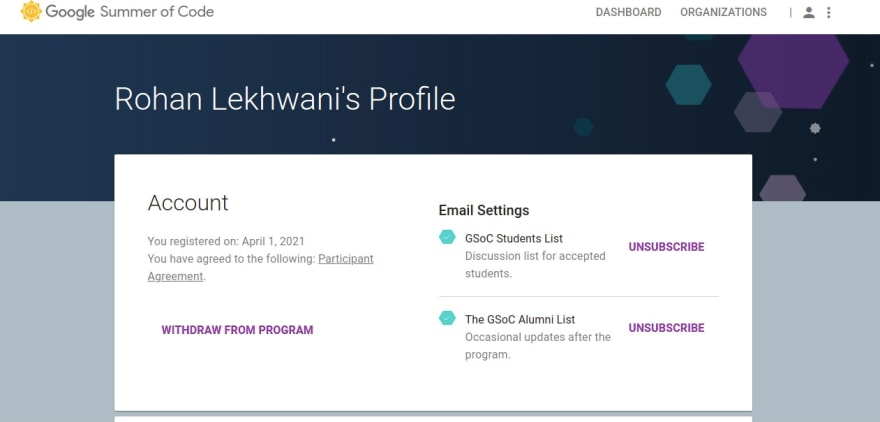 GSoC Profile with the ability to opt into mailing lists