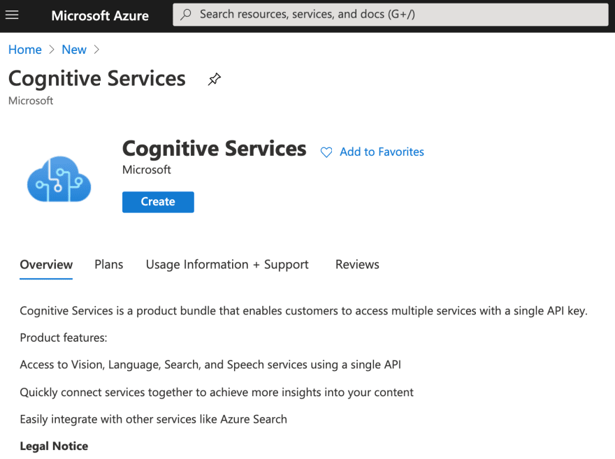 Cognitive Services Azure resource