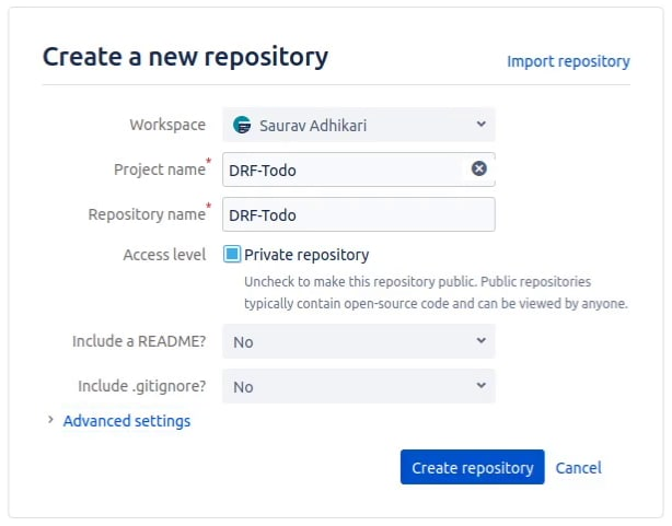 Creating a repo on BitBucket