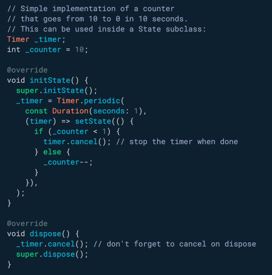 Use Timer.periodic to create a timer that repeats with a given period