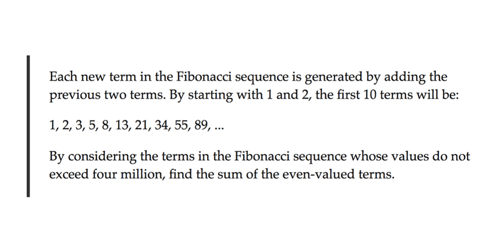 Project Euler #2 - Even Fibonacci numbers - DEV Community