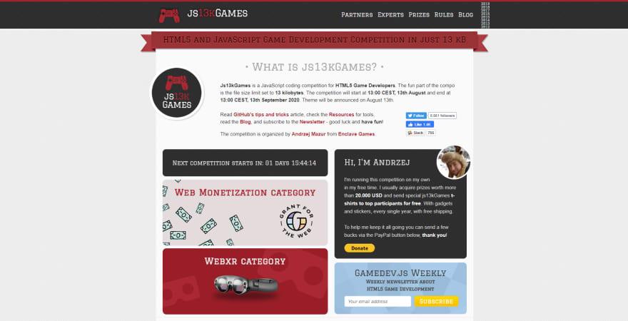 JS13KGames 2020 homepage