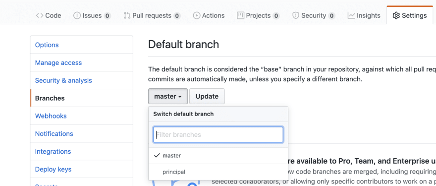 Updating the default branch on Github
