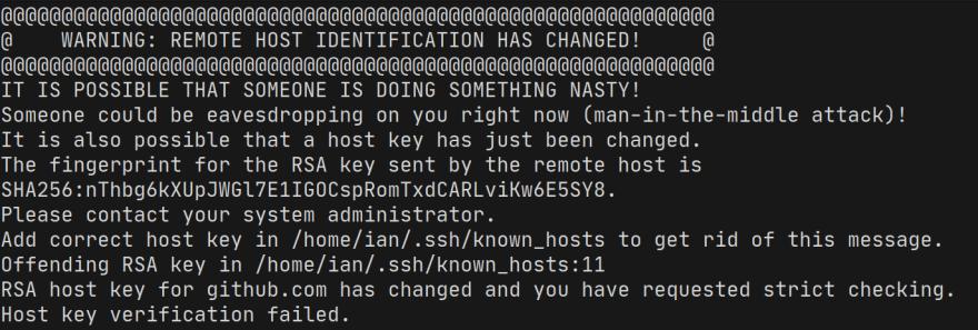 screenshot of SSH host key verification error